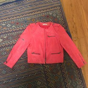 Alice + Olivia pink leather biker jacket size S